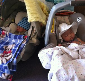 Babies napping while Moms take a break